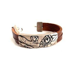 Genuine Vintage Brown Leather Bracelet